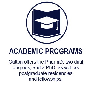 Gatton offers an innovative PharmD curriculum and two dual degrees. Learn more about these programs as well as our PhD and postgraduate residencies and fellowships.