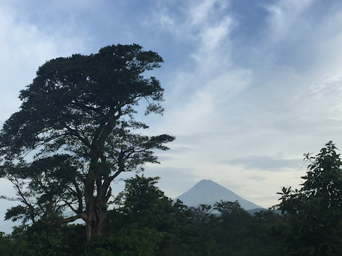 View of volcano near the compound in Guatemala.