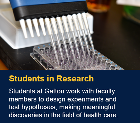 Students at Gatton work with faculty members to design experiments and test hypotheses, making meaningful discoveries in the field of health care.