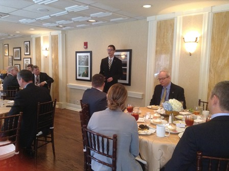 Brad Fisher, Roan Scholars student representative, speaks to attendees at legislative luncheon.