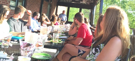Rep. Timothy Hill talks to College Republicans at dinner