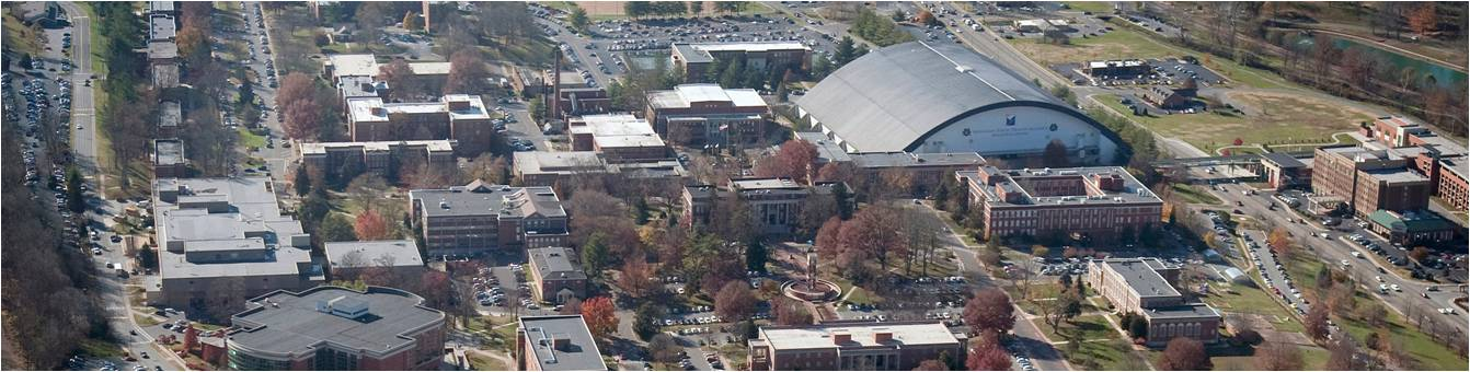 aerial camera shot of campus