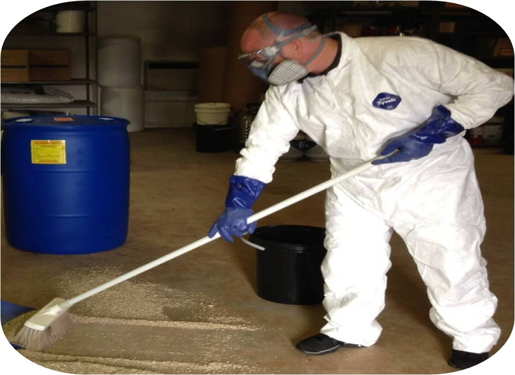 cleaning up a chemical spill