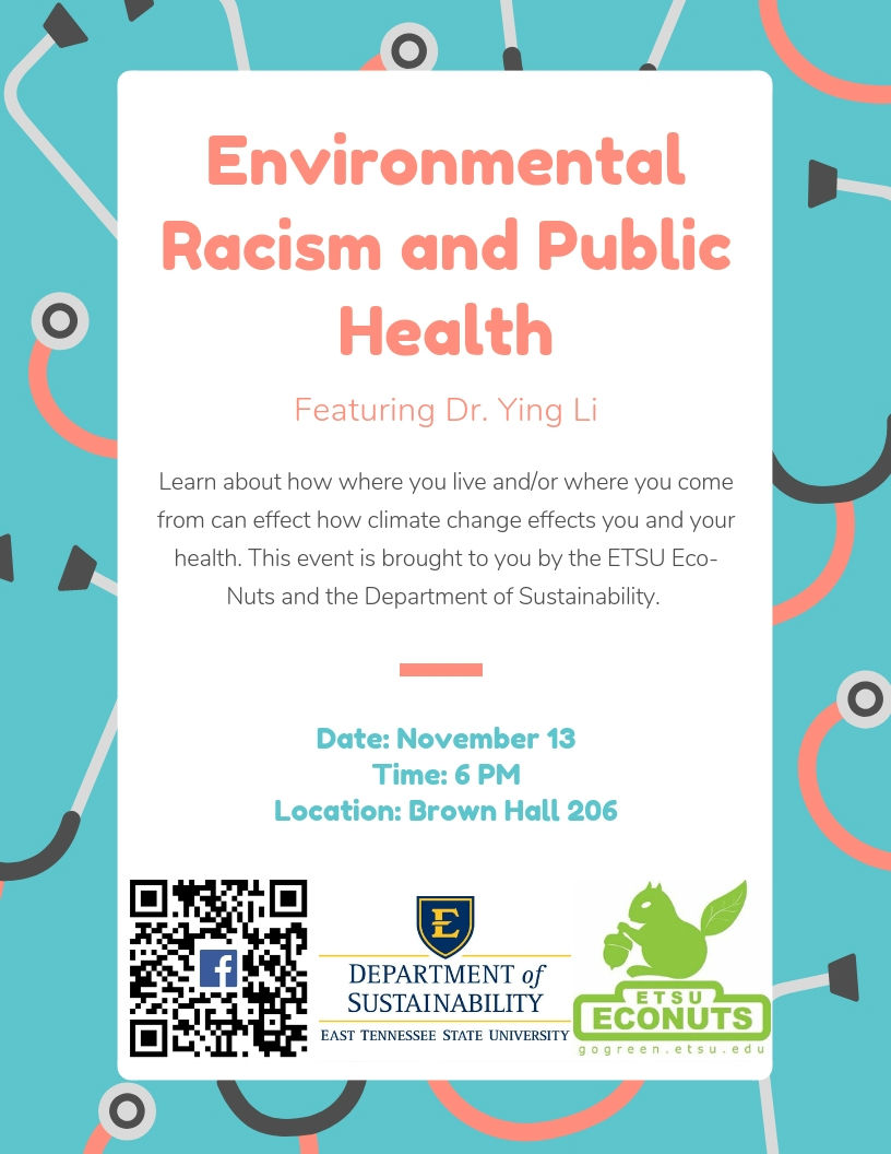 Environmental racism and public health november 13 at 6 pm in 203 brown hall