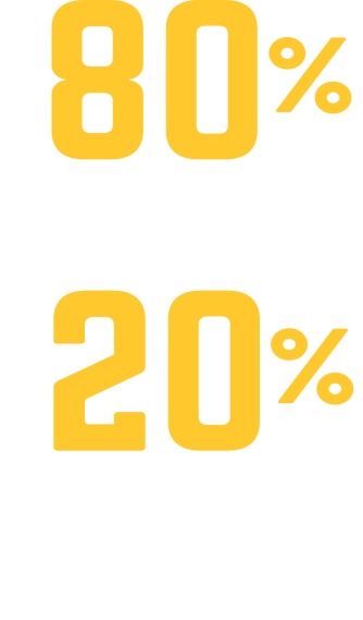 80 Percent Community College 20 Percent 4 Year College or University