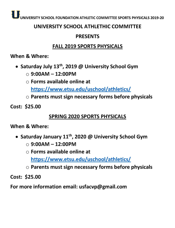 Sports Physical Dates