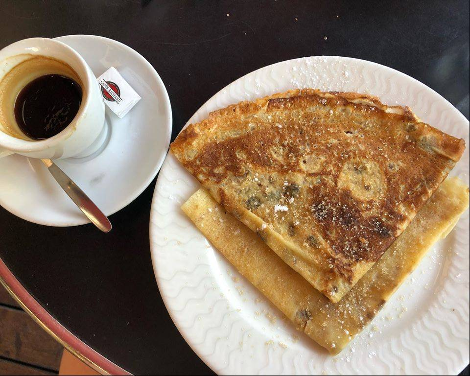 Crepe and cup of expresso