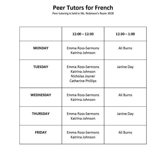 Peer Tutors for French