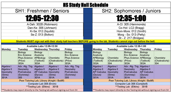 Study Hall Lab Schedule