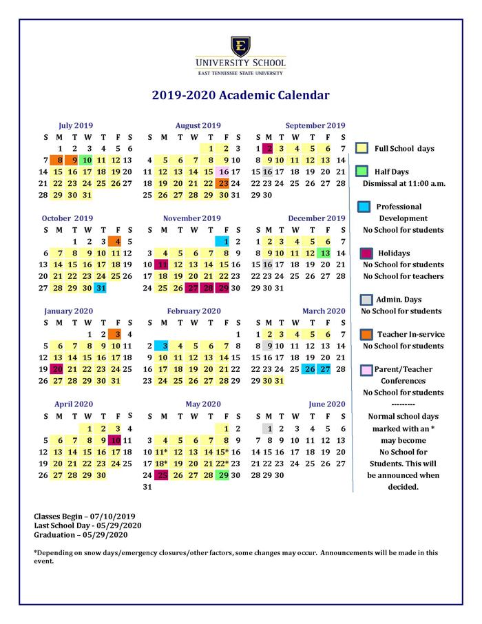 Uh Fall 2019 Calendar Academic Calendar for Next School Year