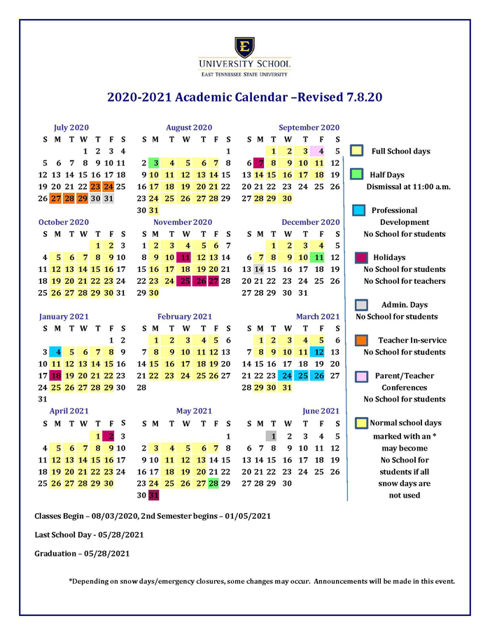Academic Calendar for Next School Year