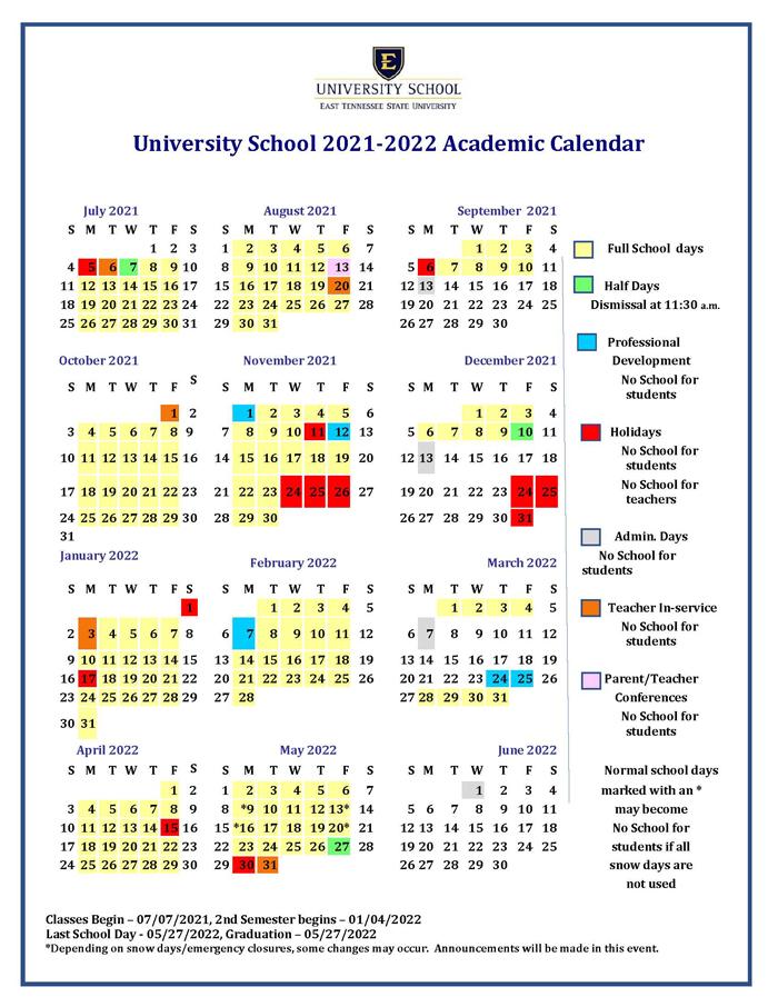 Tennessee State University Academic Calendar 2021-2022