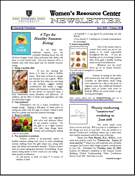 Cover page for the June 2018 issue of the Women's Resource Center Newsletter