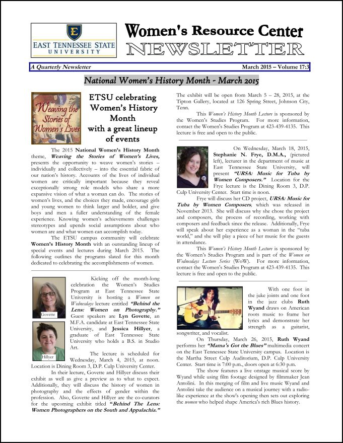 Cover page to the WRC Newsletter for March 2015