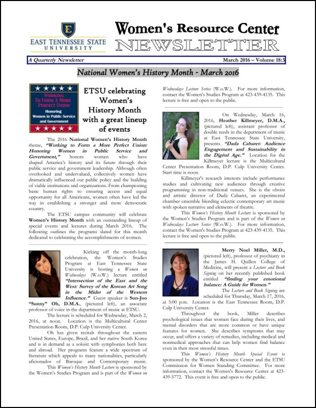 March 2016 newsletter cover page