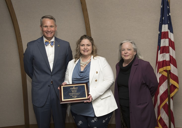 Photo of Dr. Brian Noland, Mrs. Jill Fair, Ms. Harriet Masters from ETSU Staff Woman of the Year 2018 Ceremony